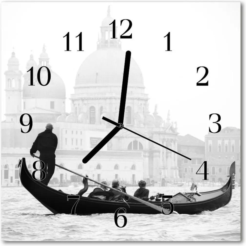 Sklenené hodiny štvorcové  vidiecka loď