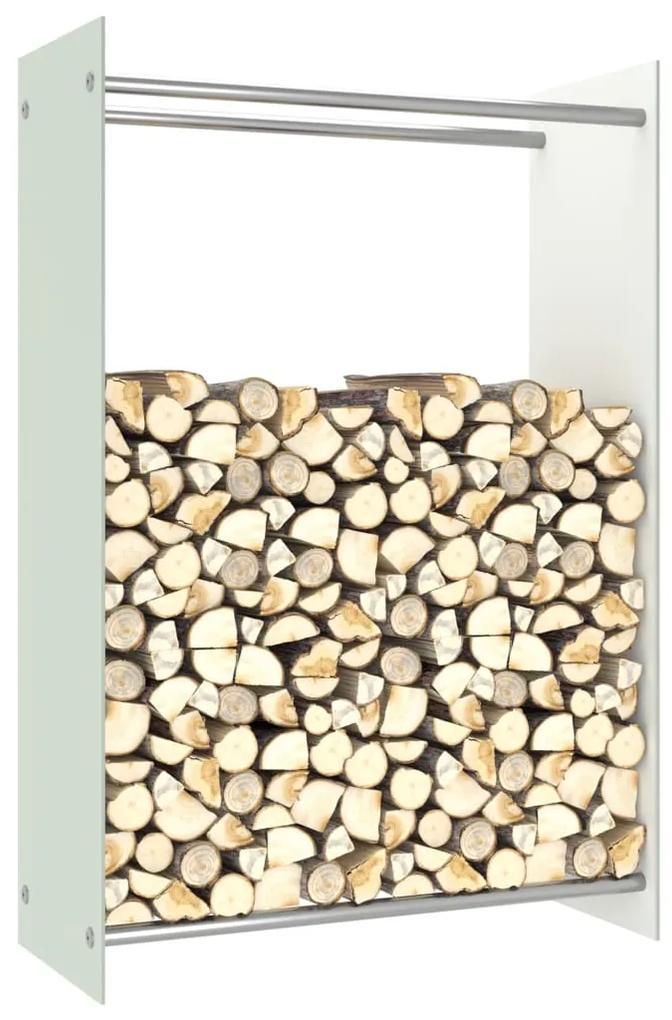 vidaXL Stojan na krbové drevo, biely 80x35x120 cm, sklo