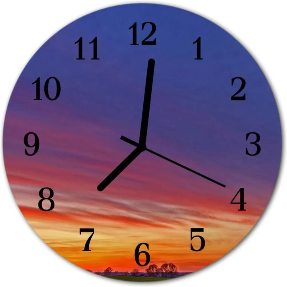 Skleněné hodiny kulaté pole