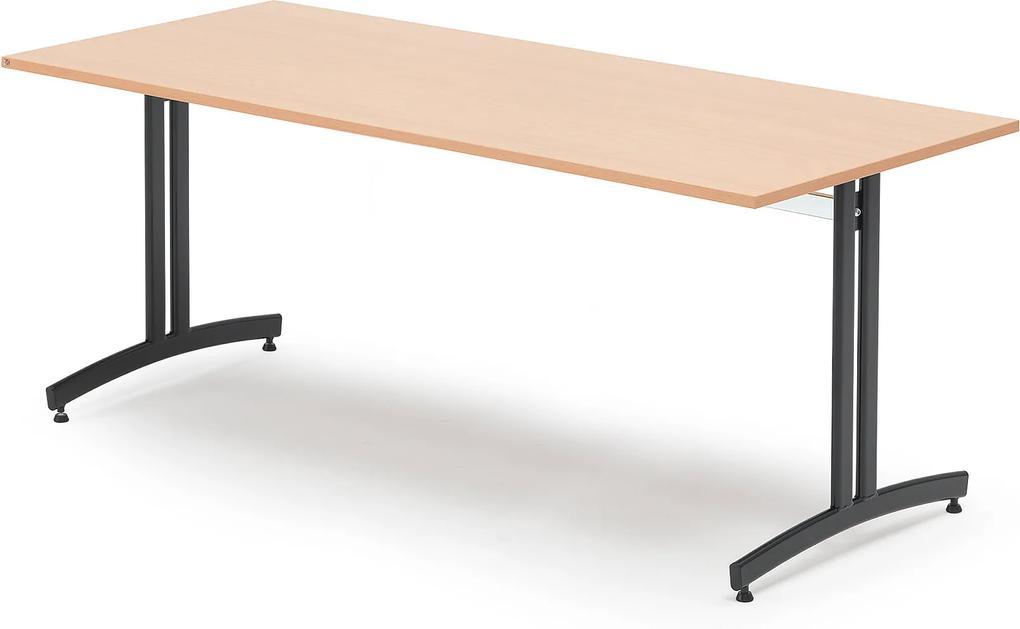 Jedálenský stôl Sanna, 1800x800 mm, buk / čierna