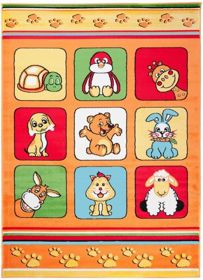 Detský kusový koberec Animals oranžový, Velikosti 80x150cm