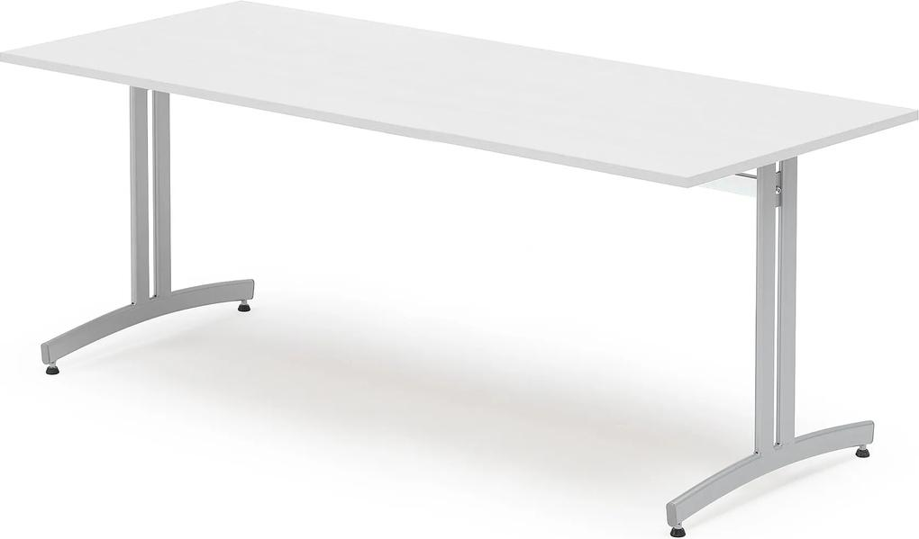 Jedálenský stôl Sanna, 1800x800 mm, biely, šedá podnož