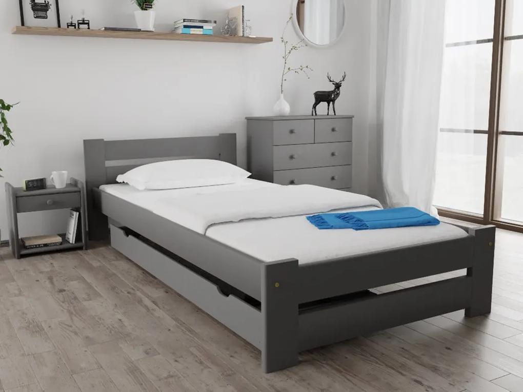 Posteľ Ola 90 x 200 cm, sivá Rošt: S latkovým roštom, Matrac: S matracom Economy 10 cm