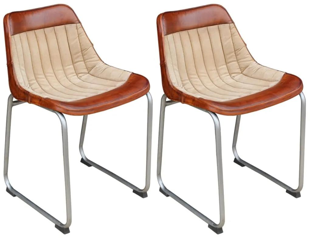 vidaXL Jedálenské stoličky 2 ks, hnedo béžové, pravá koža a plátno