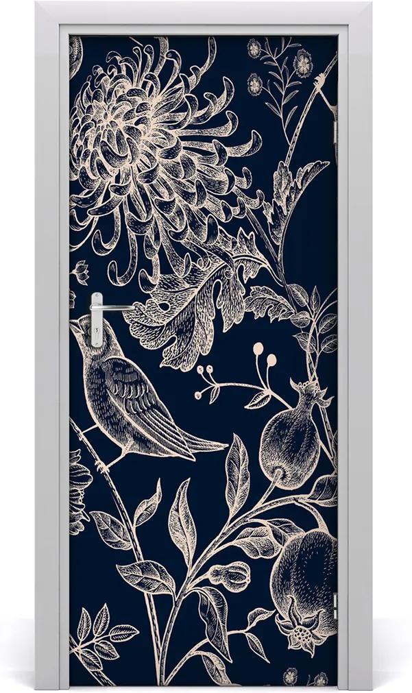 Samolepící fototapeta na dveře Květiny a ptáci