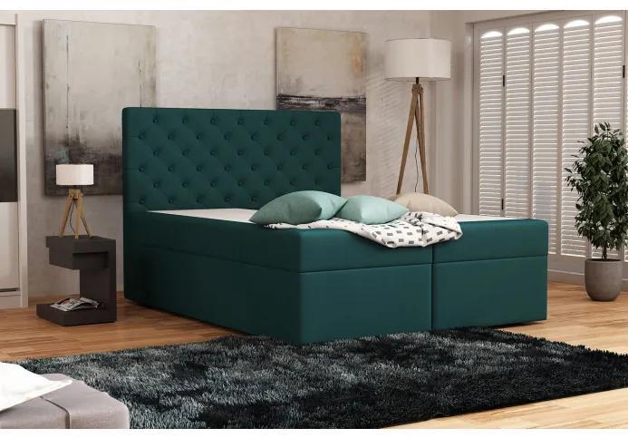 Elegantná čalúnená posteľ 120x200 ALLEFFRA - modrozelená