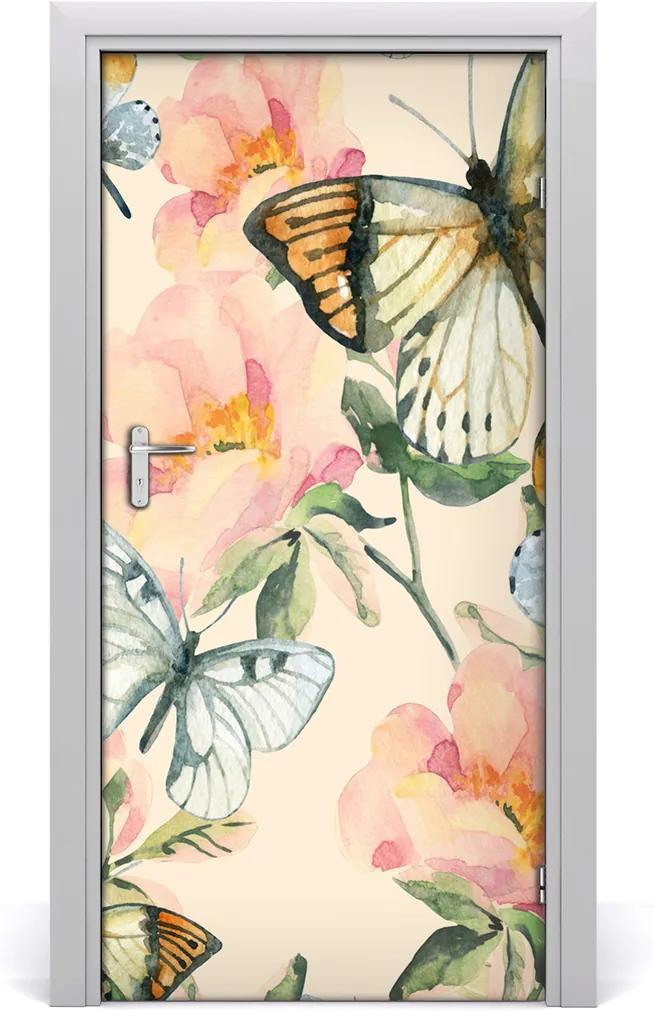 Samolepící fototapeta na dveře Růže i motýli