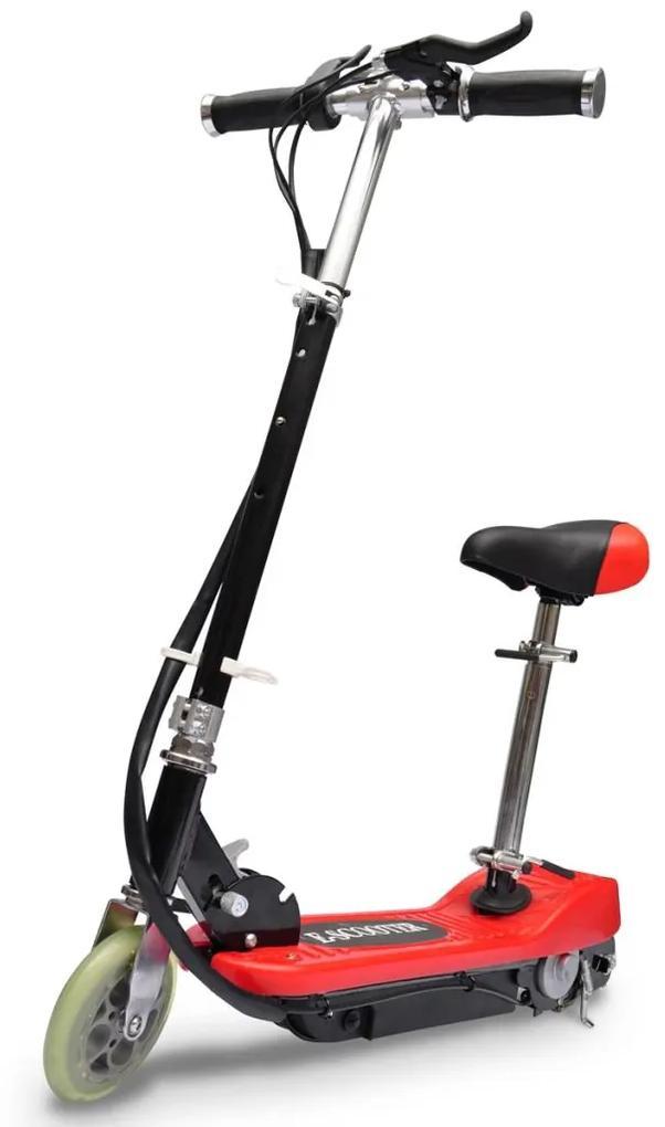vidaXL Elektrická kolobežka so sedadlom 120 W, červená