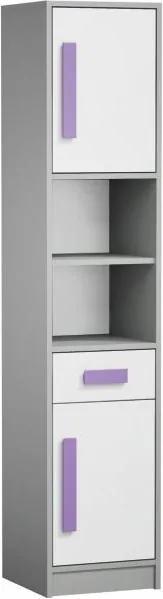 TEMPO KONDELA Skriňa - regál, sivá/biela/fialová, PIERE P04