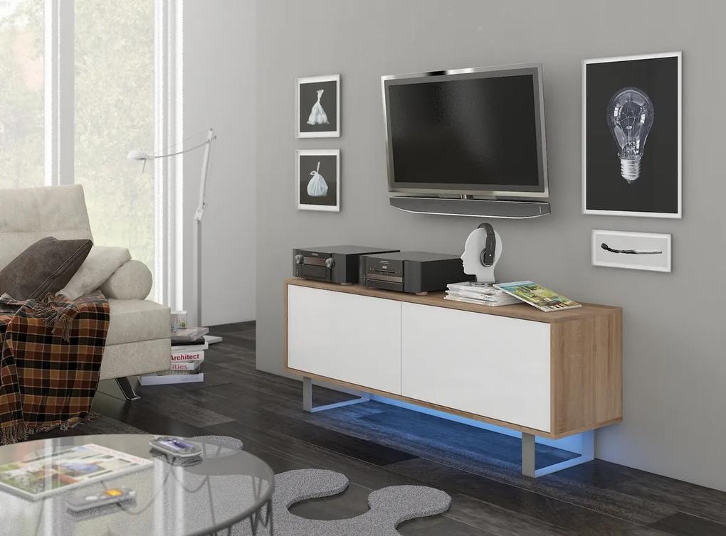 MEBLOCROSS King KIN-01 tv stolík sonoma svetlá / biely lesk
