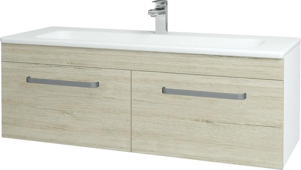 Dřevojas - Koupelnová skříň ASTON SZZ2 120 - N01 Bílá lesk / Úchytka T01 / D05 Oregon (131203A)