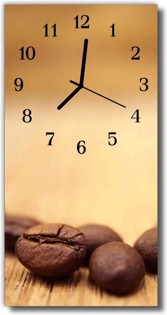 Skleněné hodiny vertikální Hnědý kávovar