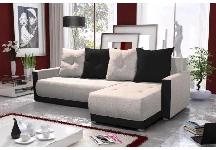 Elegantná sedacia súprava s opierkami LEONARD BIS, krémová + fialová