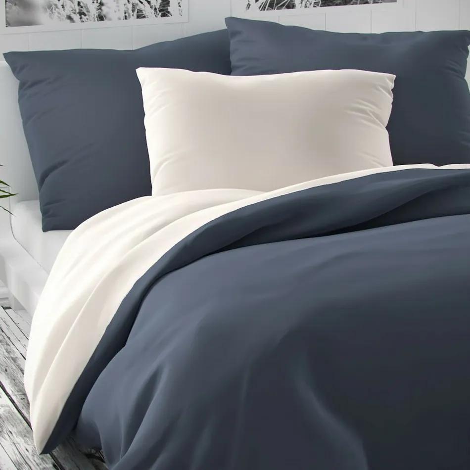 Kvalitex Saténové obliečky Luxury Collection biela/tmavosivá, 240 x 200 cm, 2 ks 70 x 90 cm