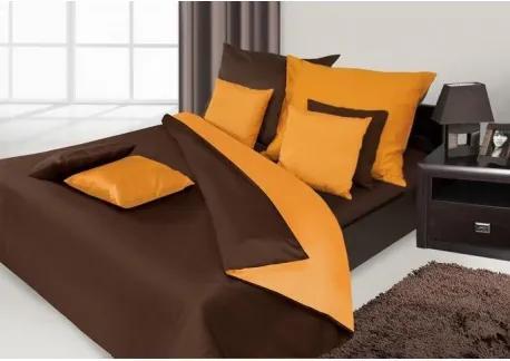DR Posteľné obliečky NOVA hnedá v kombinácii 140x200, 70x80 Oranžová