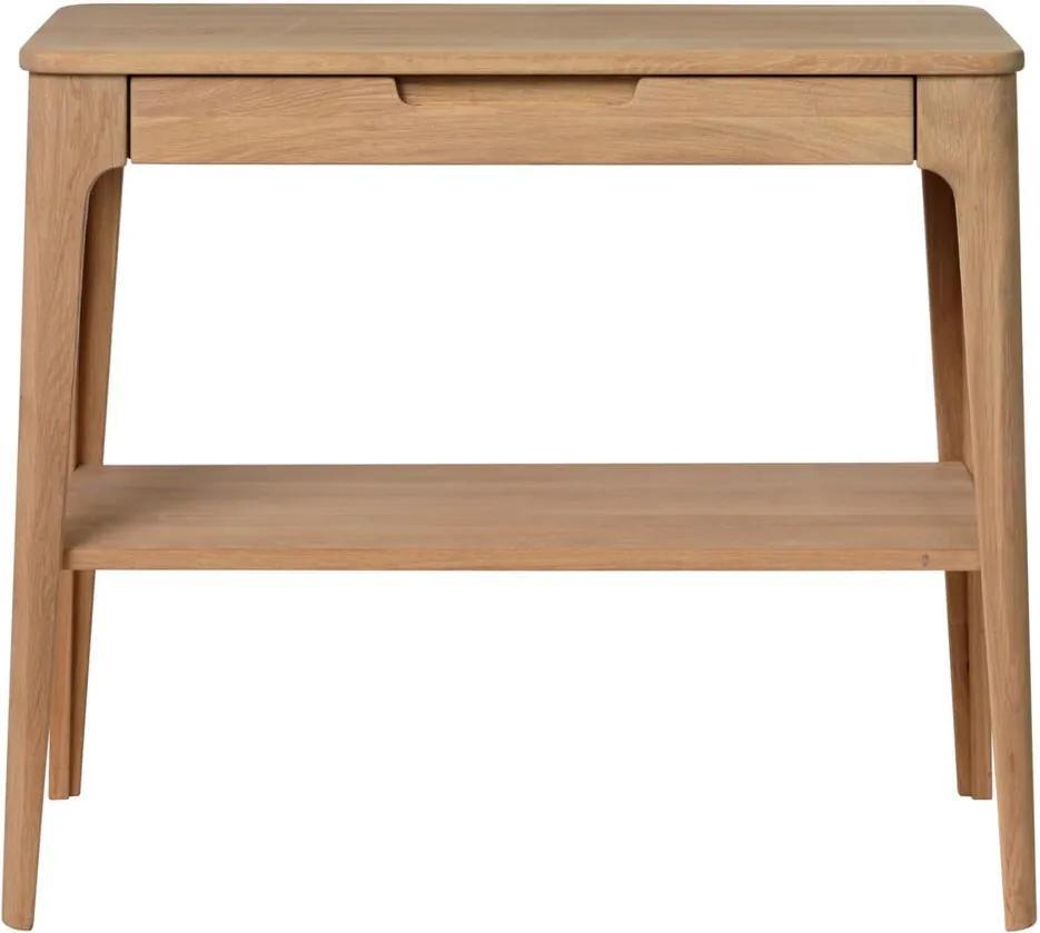 Konzolový stolík z dreva bieleho duba Unique Furniture Amalfi, 90 x 37 cm