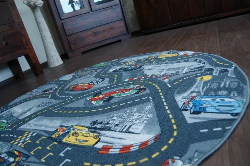 Detský koberec KRUH CARS popol - 100 cm kruh