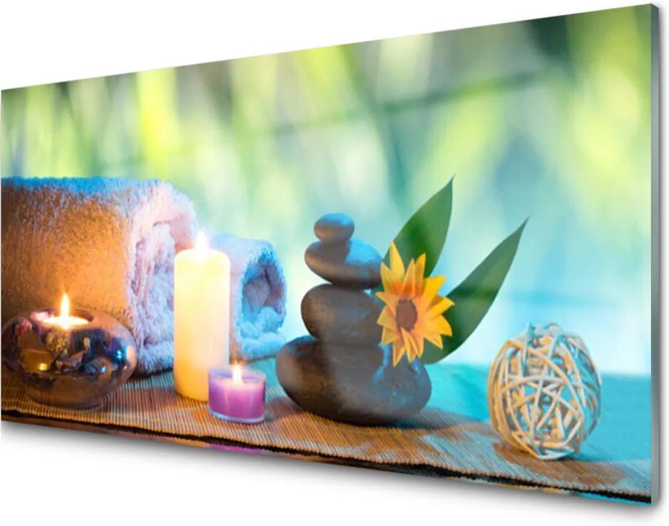Obraz na skle Svíčky ručník umění