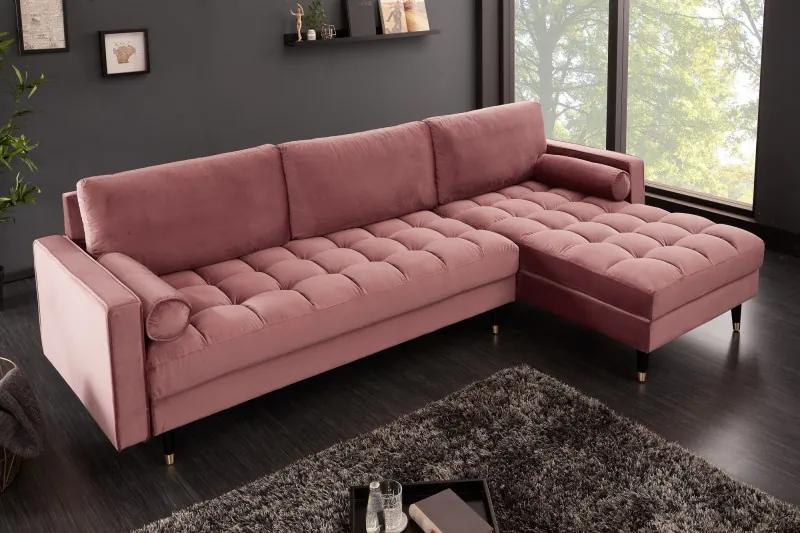 Rohová sedačka Cozy Velvet 260cm ružová