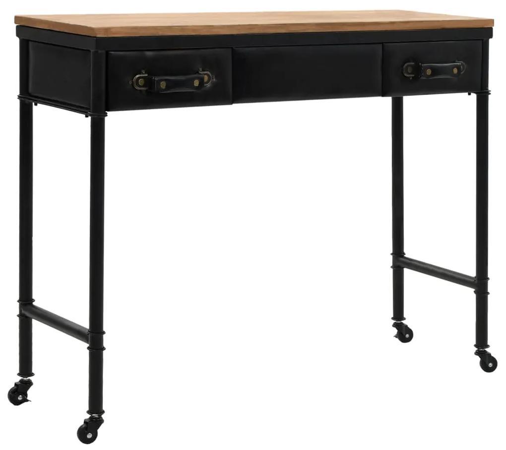 vidaXL Konzolový stolík, MDF a jedľové drevo 100x33,5x80 cm