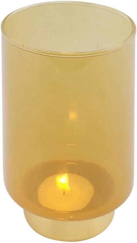 Žltý svietnik WOOOD Lola, výška 14 cm