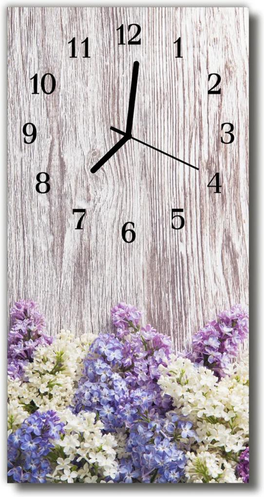 Nástěnné hodiny vertikální Lilac květiny pestré