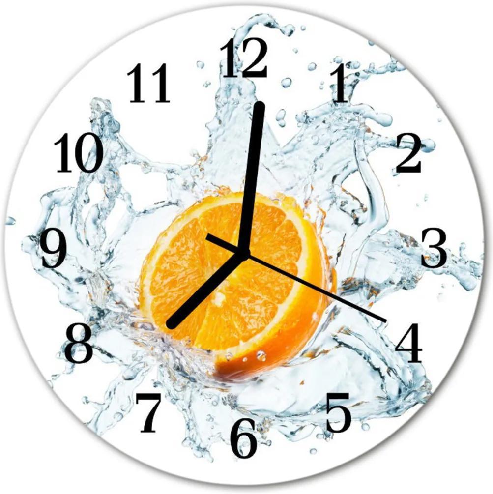 Nástenné skleněné hodiny Oranžová voda