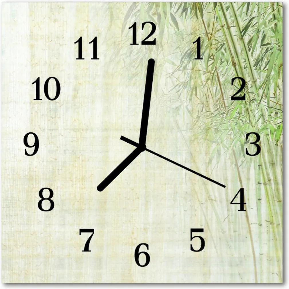 Skleněné hodiny čtvercové Bambusová rostlina