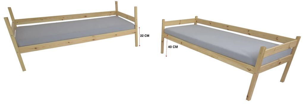FA Paula 2 200x90 poschodová posteľ z masívu Farba: Biela, Variant bariéra: S bariérkou