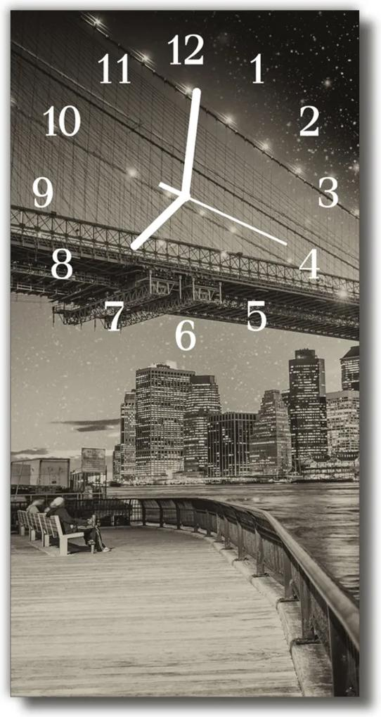 Skleněné hodiny vertikální Krajina, pohled na most