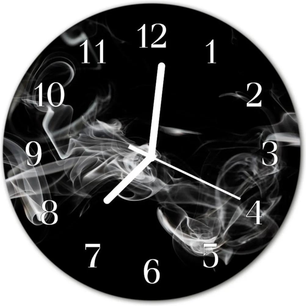 Nástenné skleněné hodiny kouř