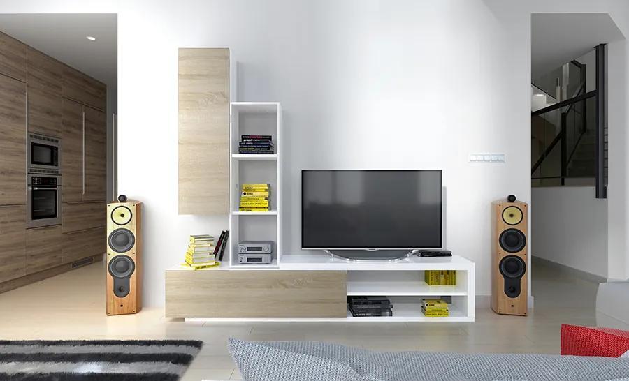 Obývacia stena dub sonoma / biela Long