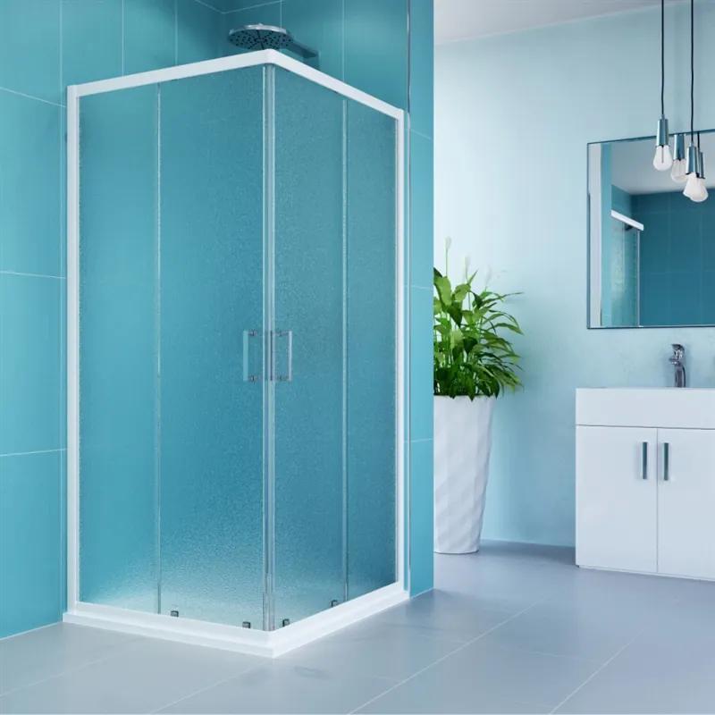 MAXMAX Sprchovací kút, Kora, štvorec, 80 cm, biely ALU, sklo Grape 80 čtvercový