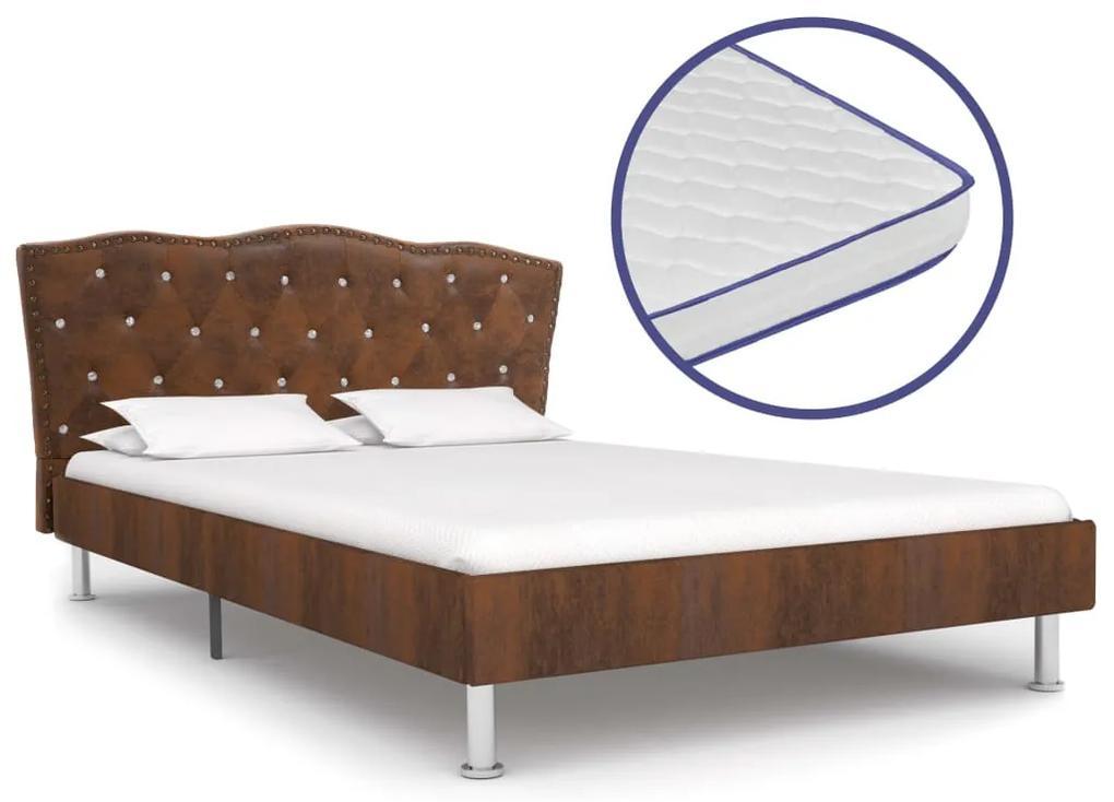 vidaXL Posteľ s matracom s pamäťovou penou hnedá 120x200 cm látková