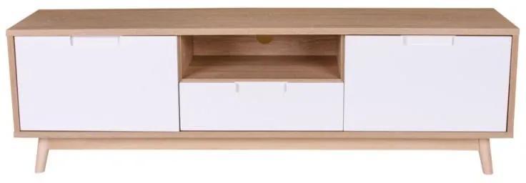 TV stolík Ronald, prírodná / biela