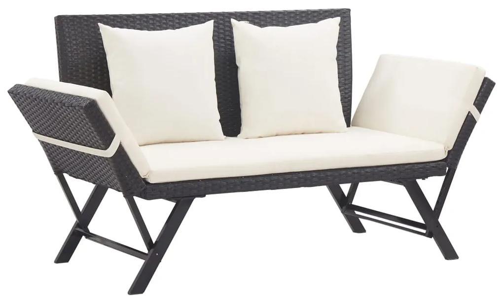 vidaXL Záhradná lavica s vankúšmi čierna 176 cm polyratanová