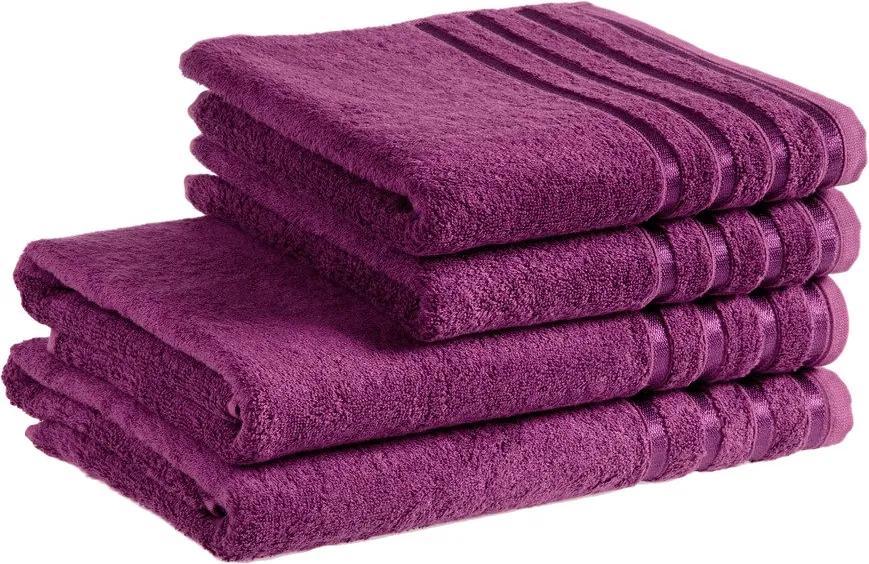 Škodák Uterák / osuška z bambusového vlákna Pásiky - purpurový - Malý uterák 30 x 50 cm