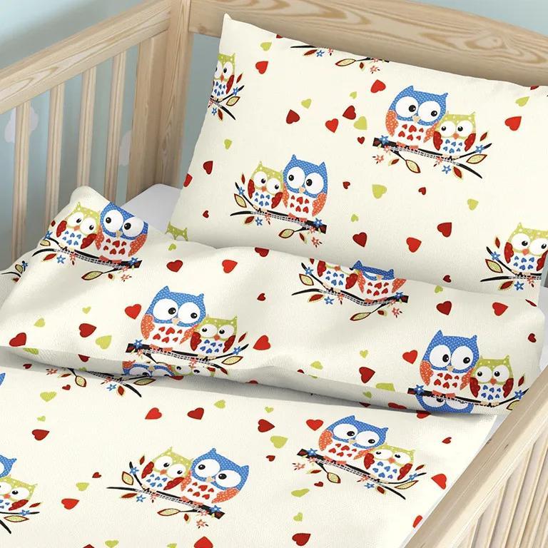 Goldea detské bavlnené obliečky do postieľky - vzor 687 sovičky na smotanovom 90 x 120 a 40 x 60 cm