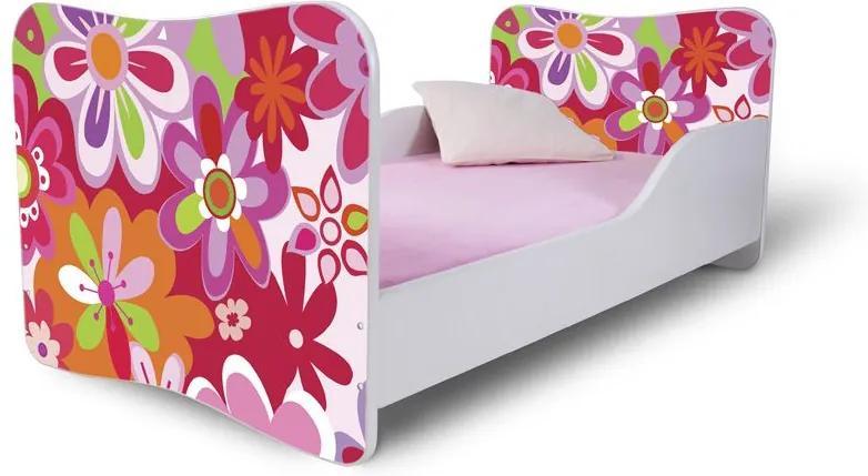MAXMAX Detská posteľ FAREBNÉ KVETY + matrac ZADARMO 160x80 pre dievča NIE