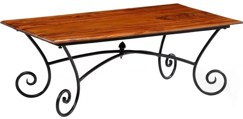 vidaXL Konferenčný stolík so zakrivenými nohami, sheeshamové drevo, 110x60x39 cm