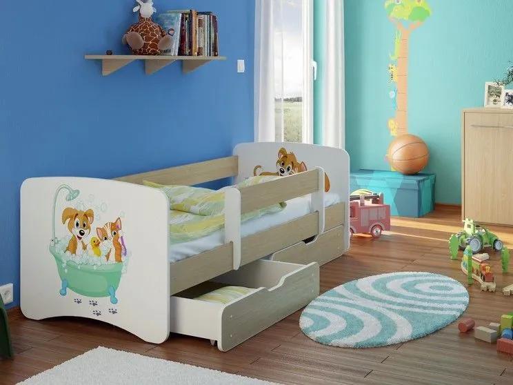 MAXMAX Detská posteľ Psík a Mačička funny 160x90cm - so zásuvkou 160x90 pre všetkých ÁNO