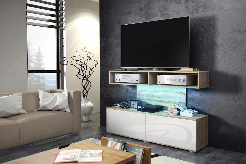MEBLOCROSS Rex tv stolík sonoma svetlá / biely lesk