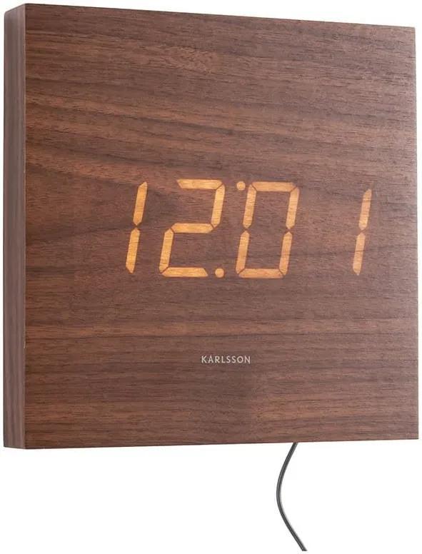 KARLSSON Nástenné hodiny Square Wood Veneer biela Led mavé drevo