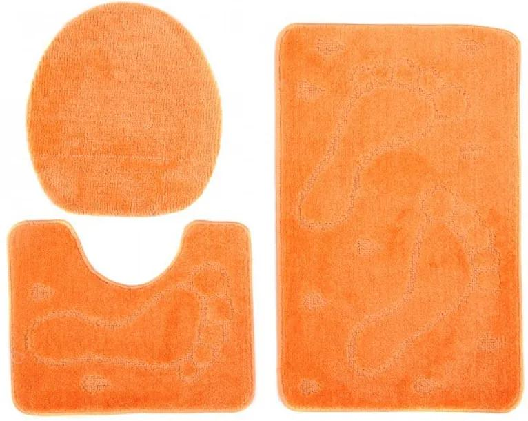 Kúpeľňové predložky 1001 oranžové 3Ks, Velikosti 50x80cm