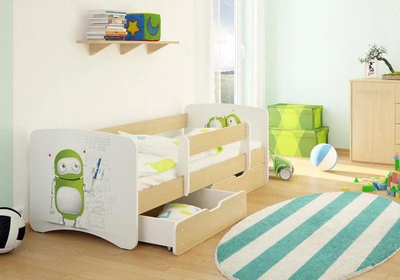 MAXMAX Detská posteľ ROBOT funny 160x80 cm - bez šuplíku 160x80 pre všetkých NIE