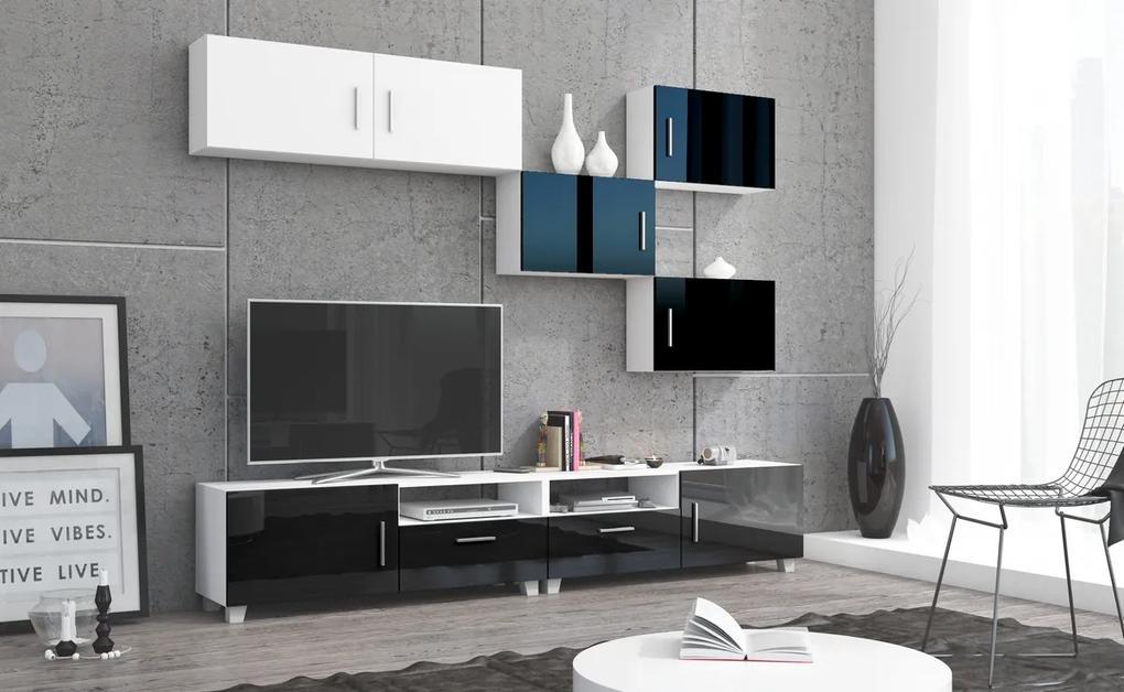 MEBLOCROSS Kuga obývacia stena biela / čierny lesk