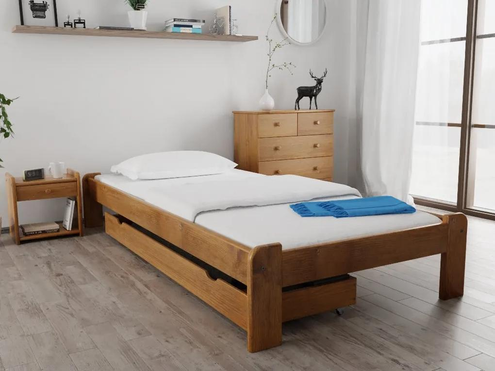 Posteľ Ada 120 x 200 cm, dub Rošt: S latkovým roštom, Matrac: S matracom Economy 10 cm
