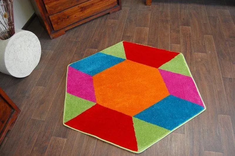 MAXMAX Detský koberec Šesťhran 1550 modrý