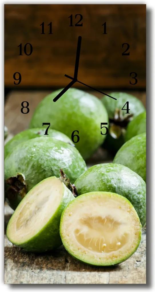 Skleněné hodiny vertikální Kuchyňské granáty zelené