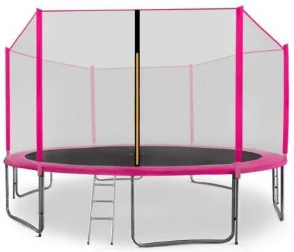 AGA SPORT PRO trampolína 430 cm s vonkajšou ochrannou sieťou ružová , rebrík , vrecko na obuv